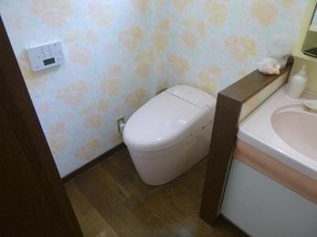 きれい除菌水機能が付いた節水トイレに取替えて安心です。